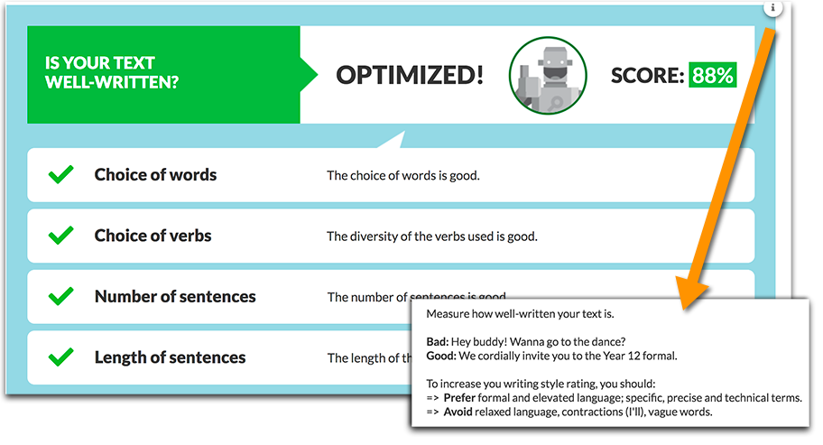 Textoptimizer content quality